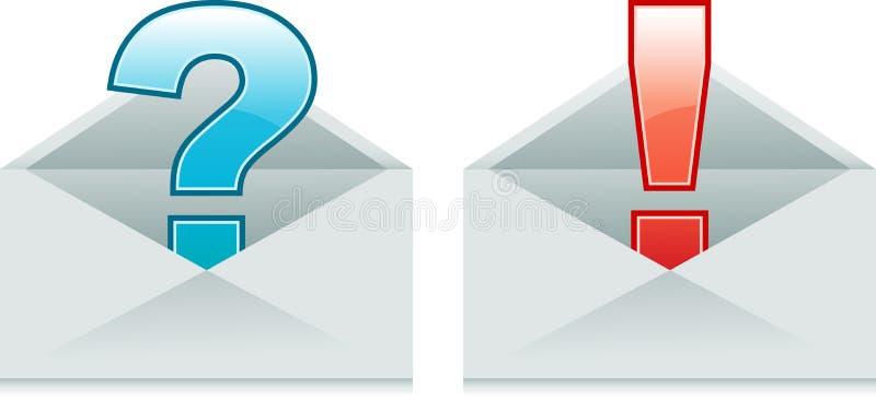 Envelopes com exclamação e pontos de interrogação ilustração royalty free