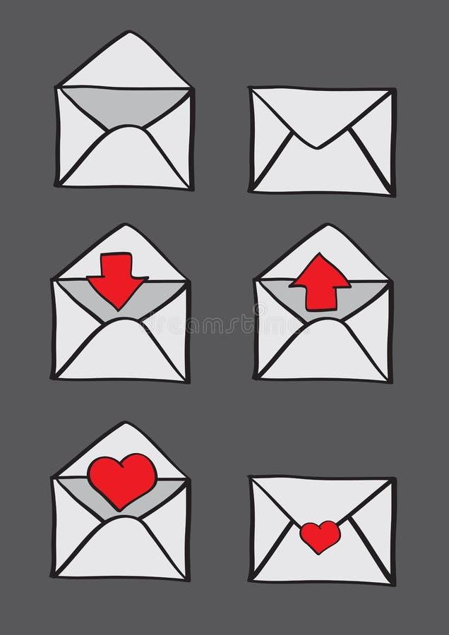 Envelopes com símbolos conceptuais para o grupo do ícone do email ilustração do vetor