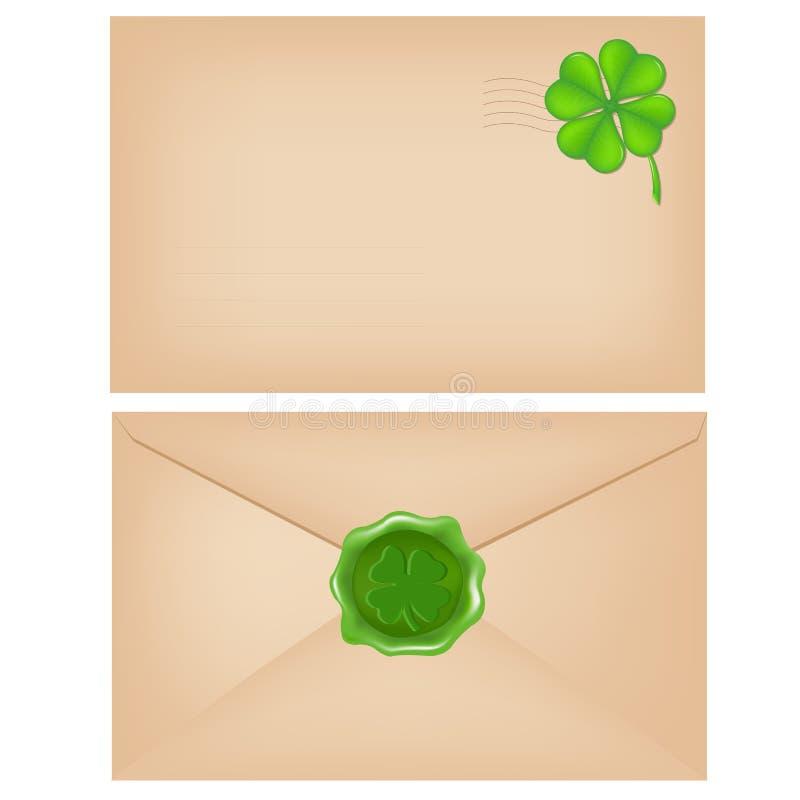 Envelopes com selo e trevo da cera ilustração do vetor