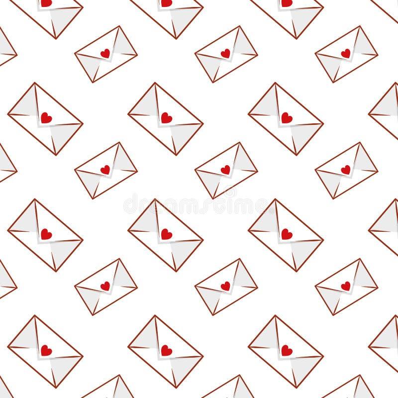 Envelopes com teste padrão dos corações ilustração do vetor