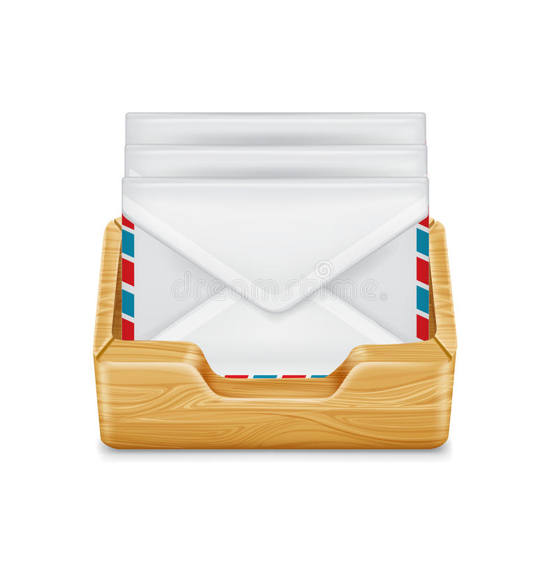Envelopes in container/wooden drawer isolated. On white royalty free illustration