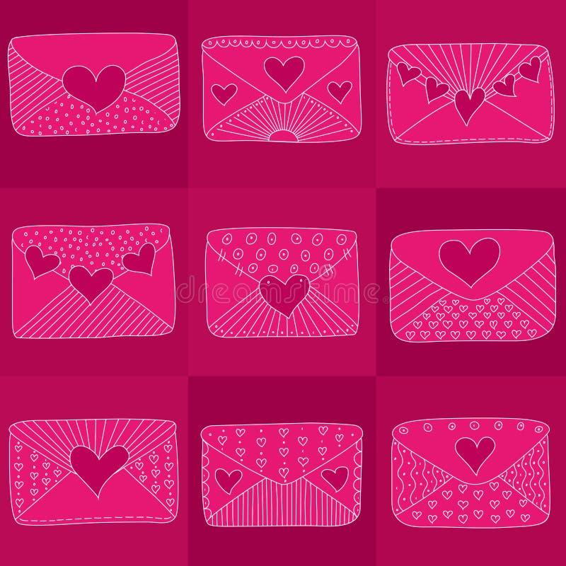Envelopes cor-de-rosa com corações e linhas ilustração do vetor