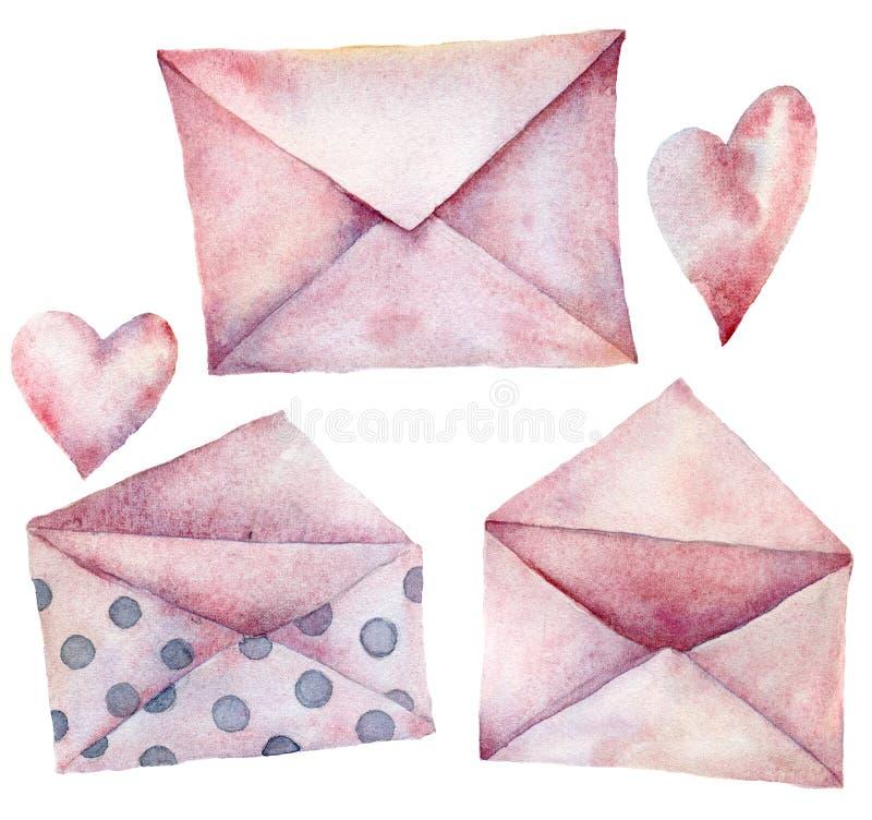 Envelopes da aquarela ajustados Rosa pintado à mão com os envelopes do às bolinhas isolados no fundo branco Ícone do correio do v ilustração stock