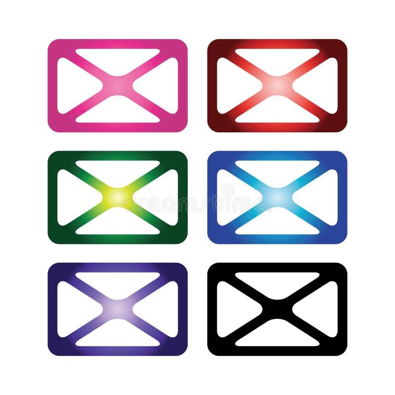 Envelopes da cor ilustração do vetor