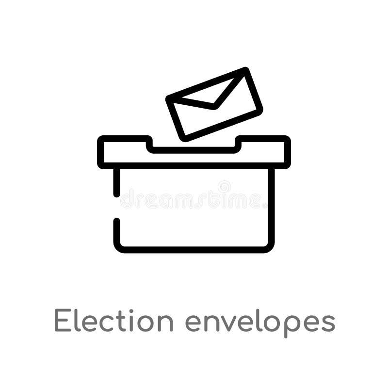 envelopes da eleição do esboço e ícone do vetor da caixa linha simples preta isolada ilustra??o do elemento do conceito pol?tico  ilustração do vetor