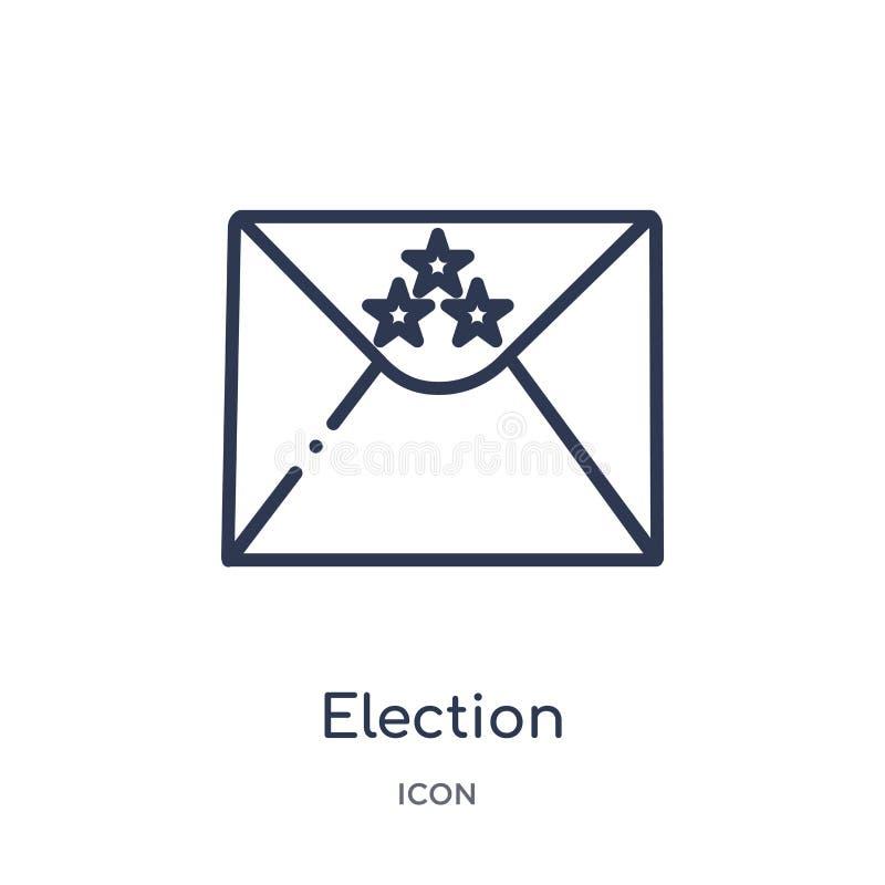 envelopes da eleição e ícone da caixa da coleção política do esboço Linha fina envelopes da eleição e ícone da caixa isolado no b ilustração do vetor