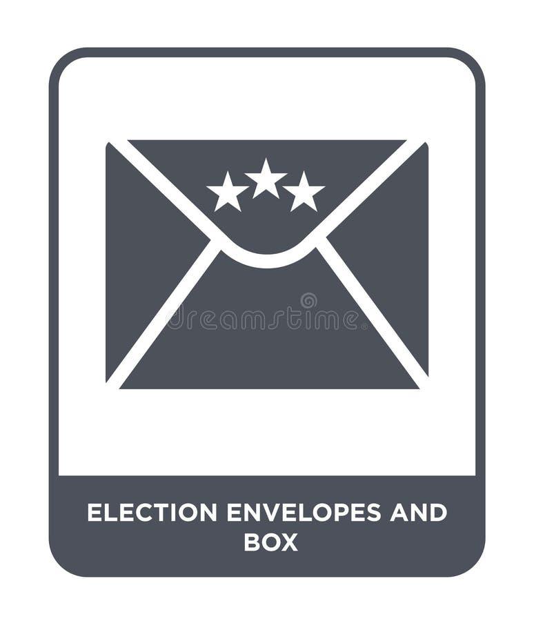 envelopes da eleição e ícone da caixa no estilo na moda do projeto envelopes da eleição e ícone da caixa isolado no fundo branco  ilustração do vetor