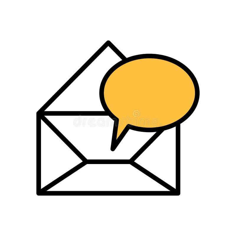 envelopes da silhueta abertos com caixa de diálogo amarela ilustração do vetor