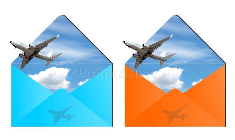Envelopes da viagem aérea ilustração royalty free