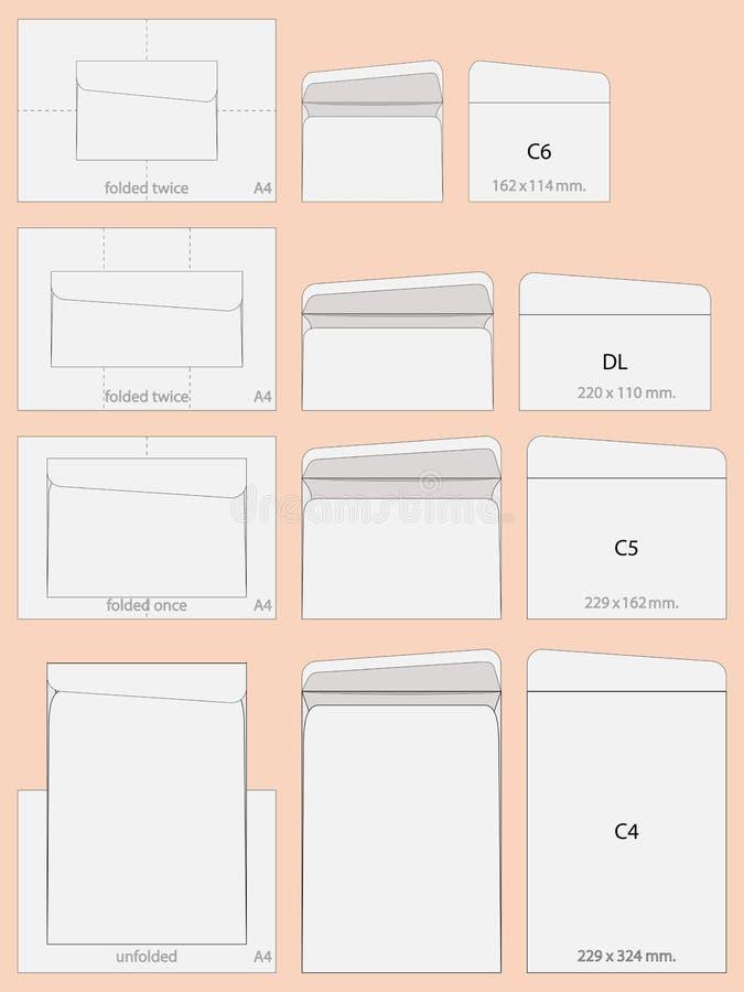 Envelopes de C4 C5 C6 e de DL ilustração stock
