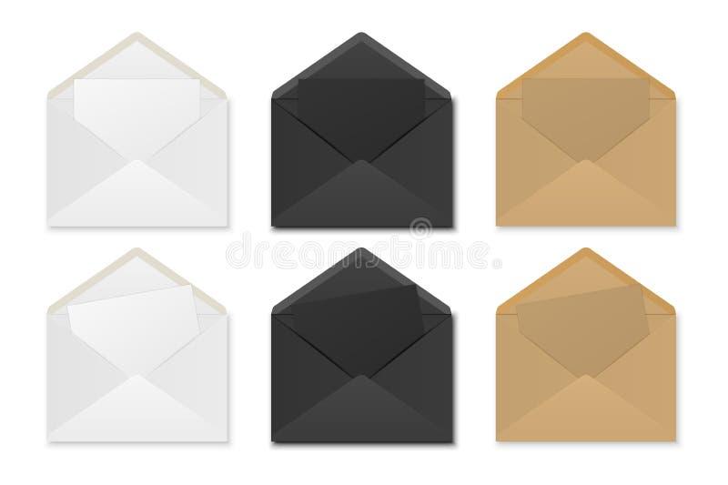 Envelopes de papel com folhas ilustração royalty free