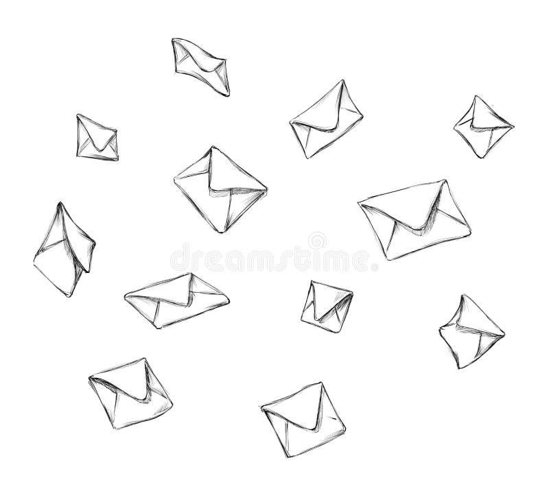 Envelopes de queda em um fundo neutro ilustração stock