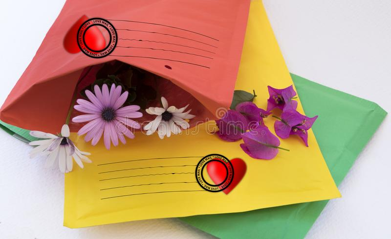 Send of love. Envelopes with a delicate content and special postmark royalty free stock photography
