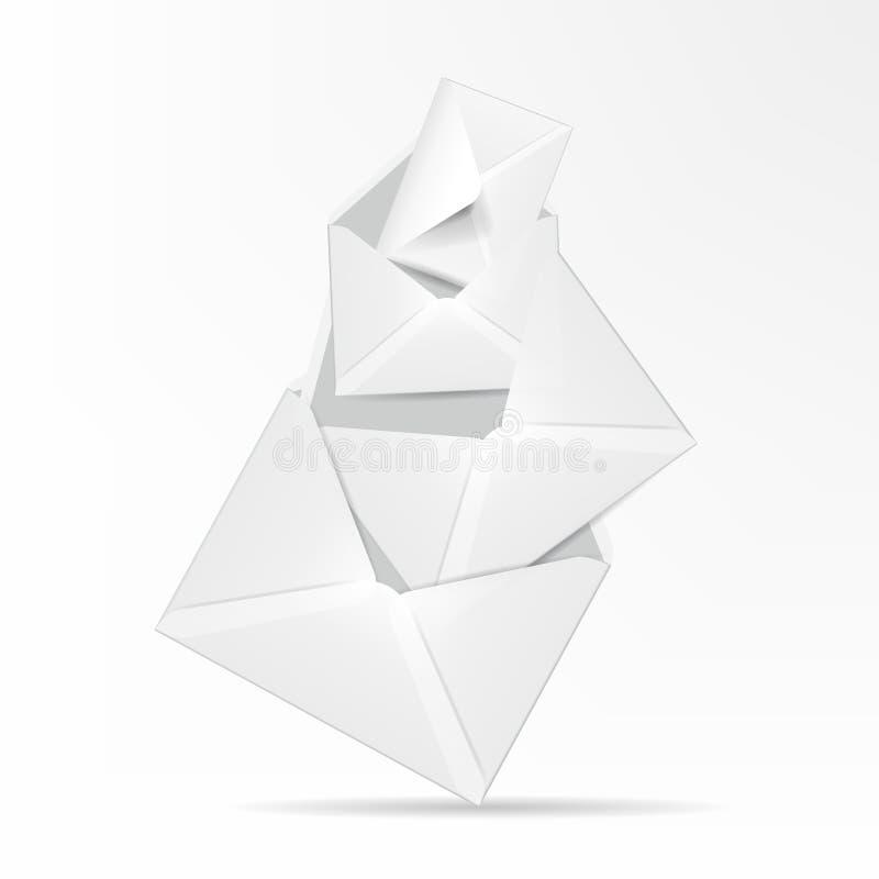 Envelopes detalhados brancos. Mal do vetor ilustração royalty free