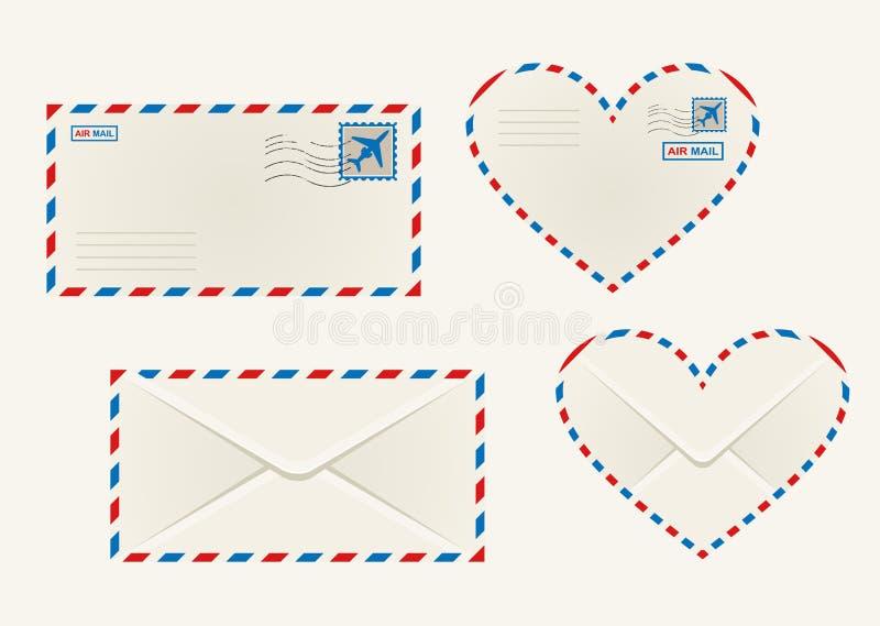 Envelopes diferentes do correio aéreo ilustração royalty free