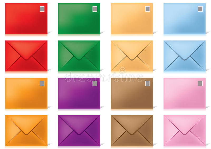 Envelopes-in-different-colours. Eight colored envelopes, on a white background stock illustration