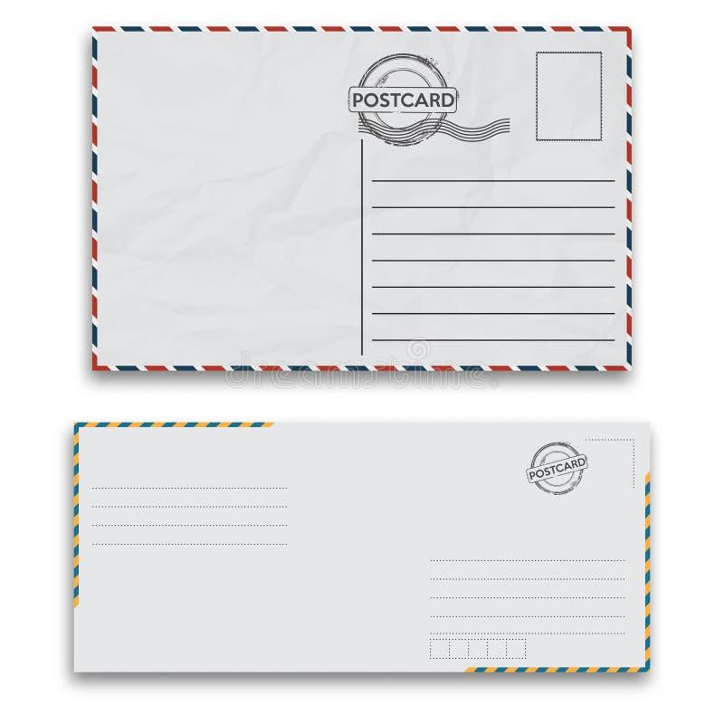 Envelopes do correio com selo no fundo branco ilustração do vetor