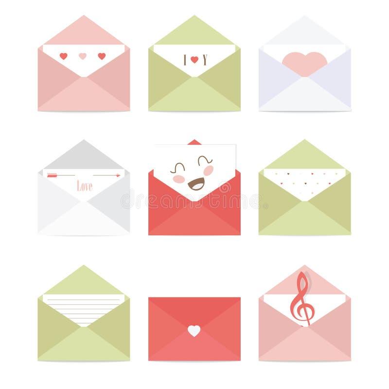 Envelopes do cumprimento ilustração do vetor