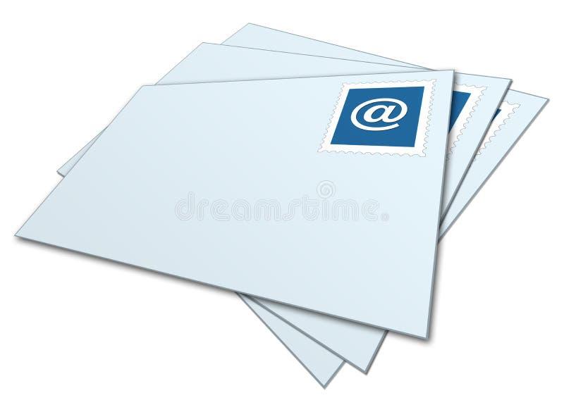 Envelopes do email empilhados ilustração do vetor