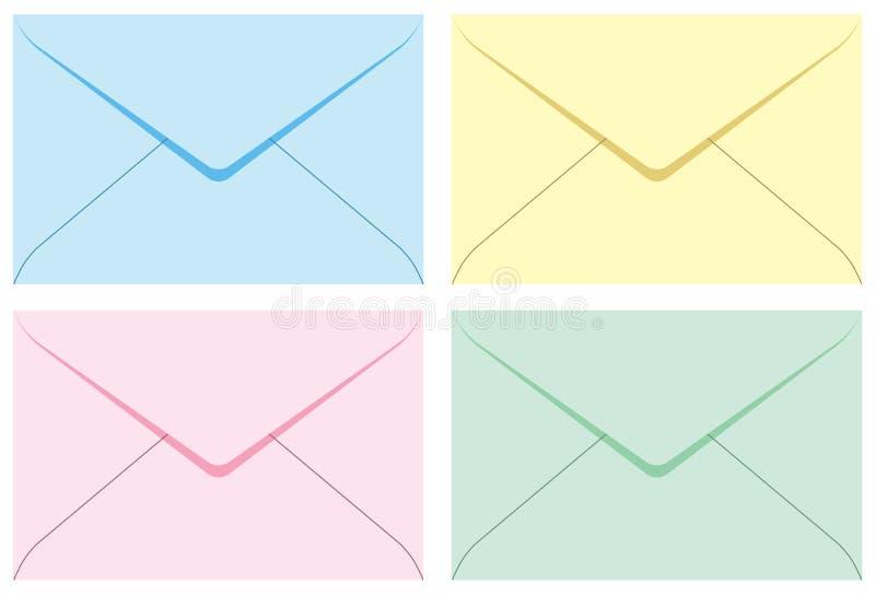 Envelopes do jogo colorido. ilustração stock