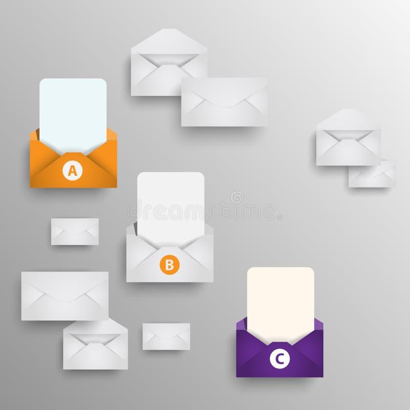 Envelopes do papel de fundo com suas mensagens ilustração do vetor