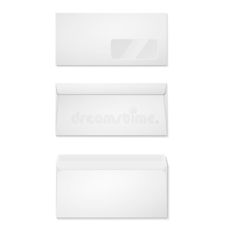 Envelopes do papel vazio para seu projeto Opinião dianteira e traseira do modelo dos envelopes O vetor envolve o molde ilustração stock