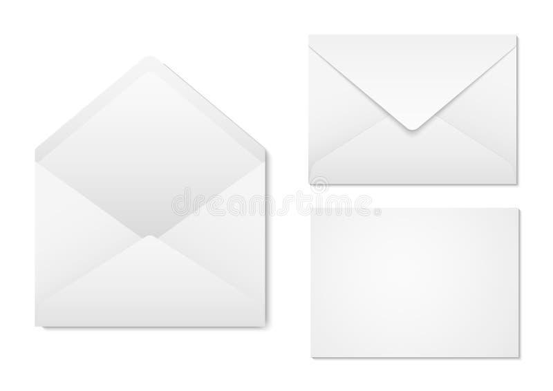 Envelopes do papel vazio para seu projeto Opinião dianteira e traseira do modelo dos envelopes O vetor envolve o molde ilustração royalty free