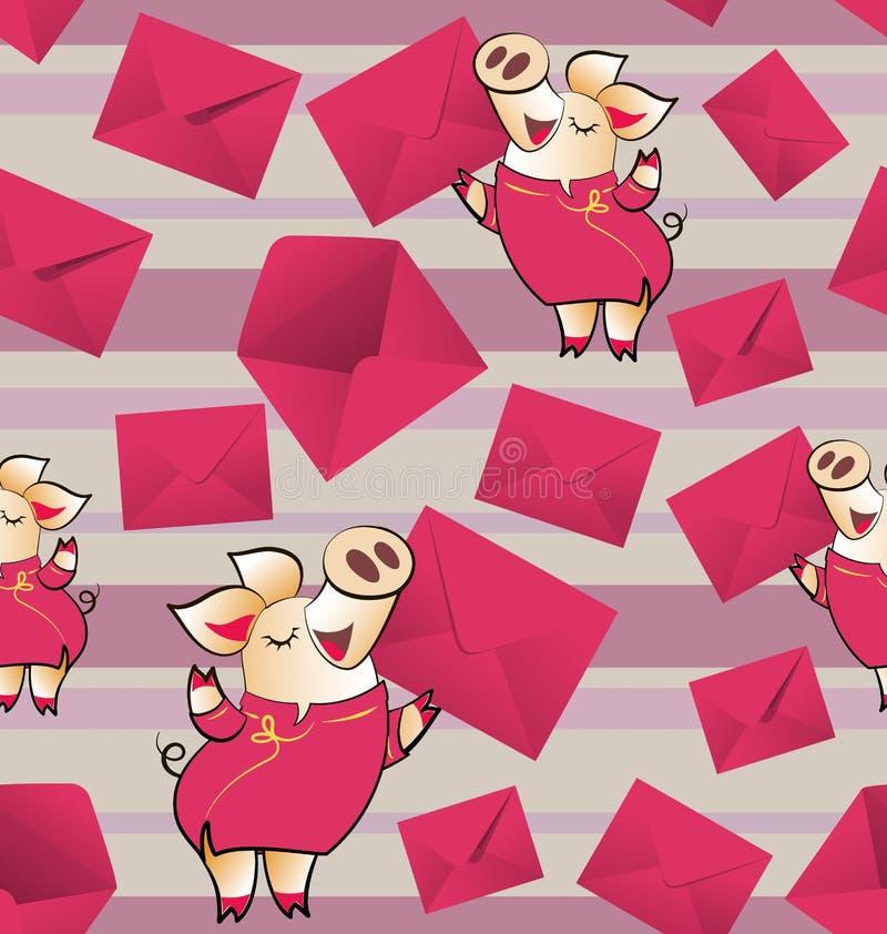 ENVELOPES DO PRESENTE Porco amarelo com um envelope ilustração royalty free