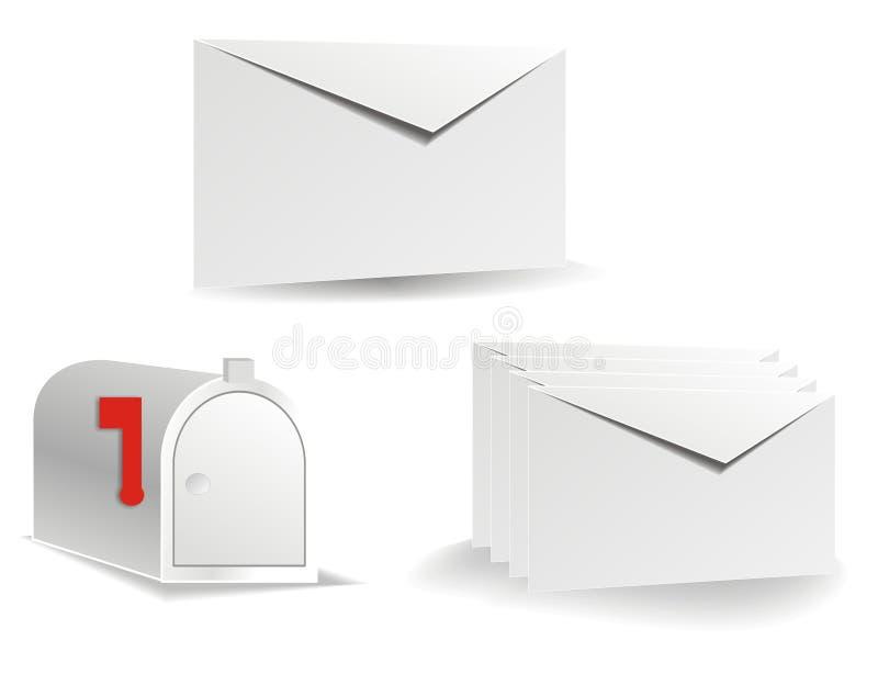 Envelopes do vetor e correio do borne ilustração stock
