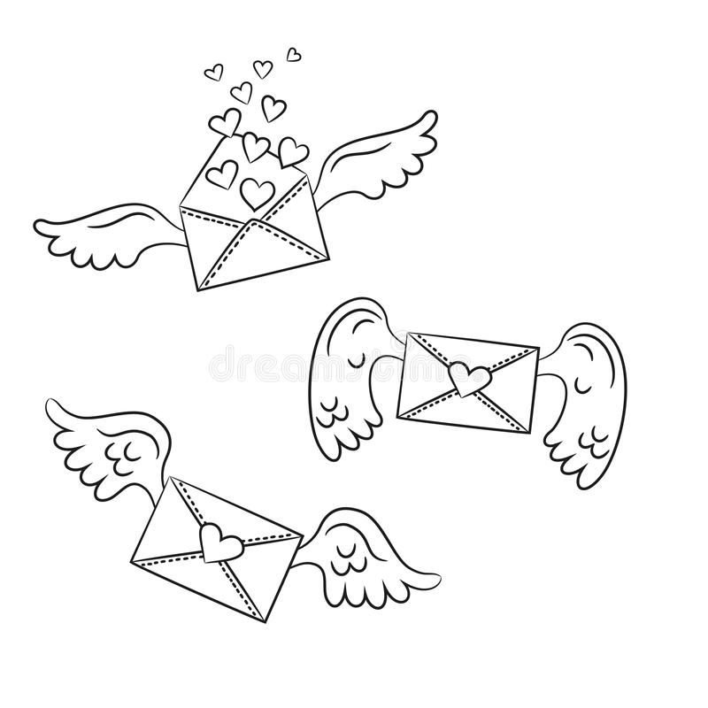 Envelopes dos desenhos animados com asas e corações no fundo branco ilustração stock