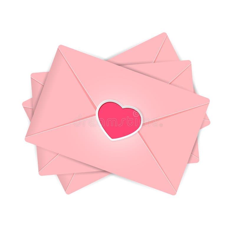 Envelopes dos Valentim ilustração do vetor