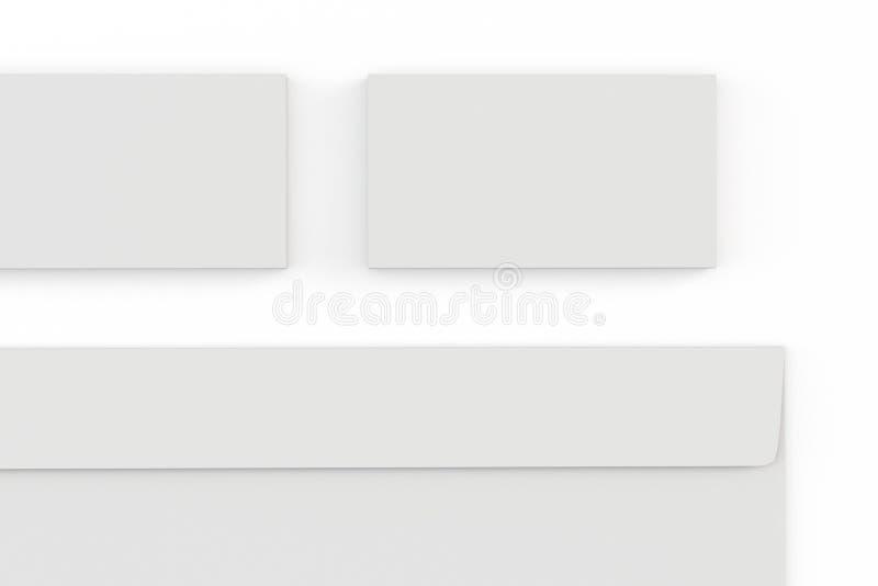 Envelopes e cartão vazios no branco ilustração do vetor