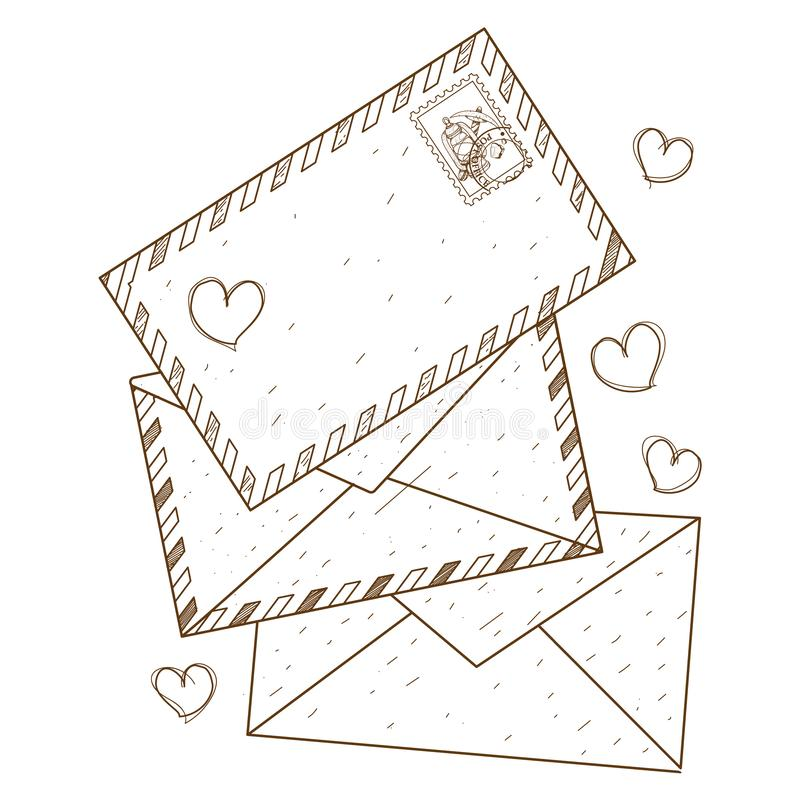 Envelopes e desenhos de letras para colorir Estilo de Vintage ilustração stock
