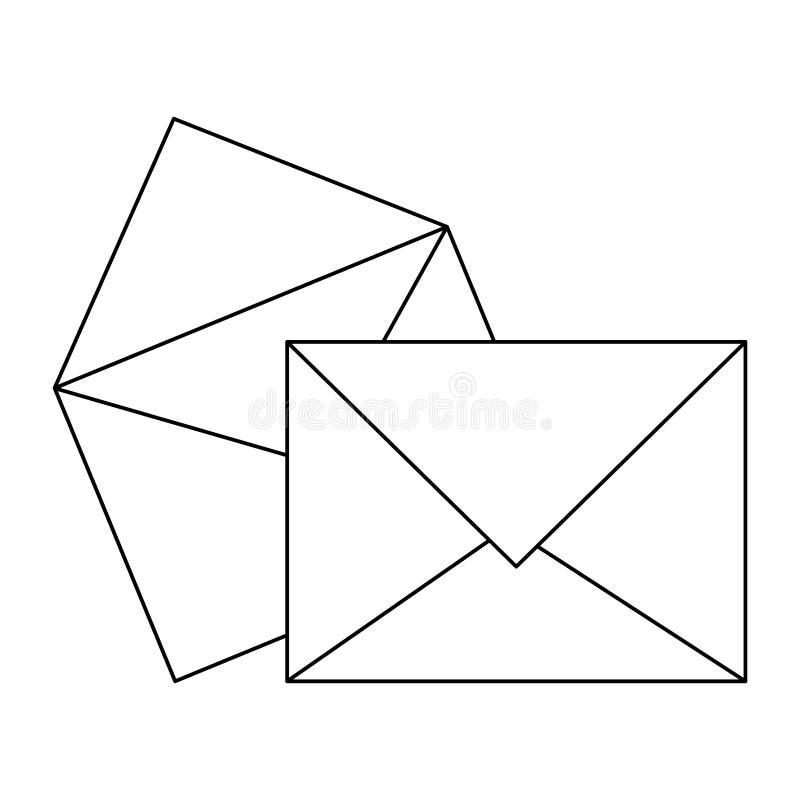 Envelopes e símbolo do correio preto e branco ilustração stock