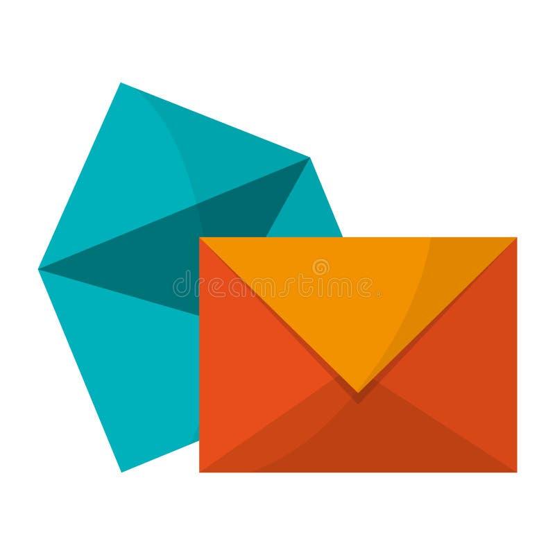 Envelopes e símbolo do correio ilustração do vetor