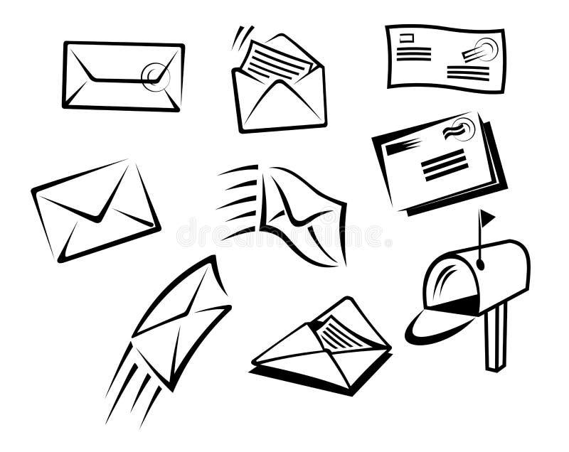 Envelopes e símbolos do correio ilustração stock