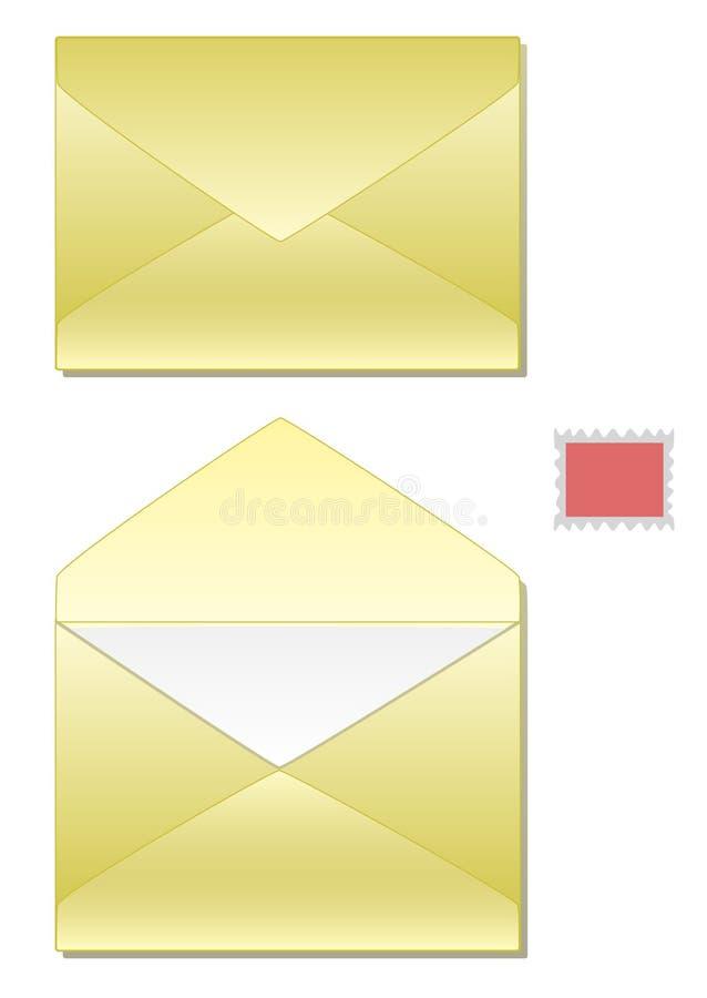 Envelopes e selo ilustração do vetor