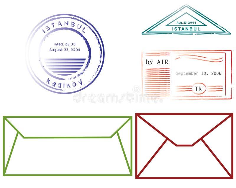 Envelopes e selos ilustração stock