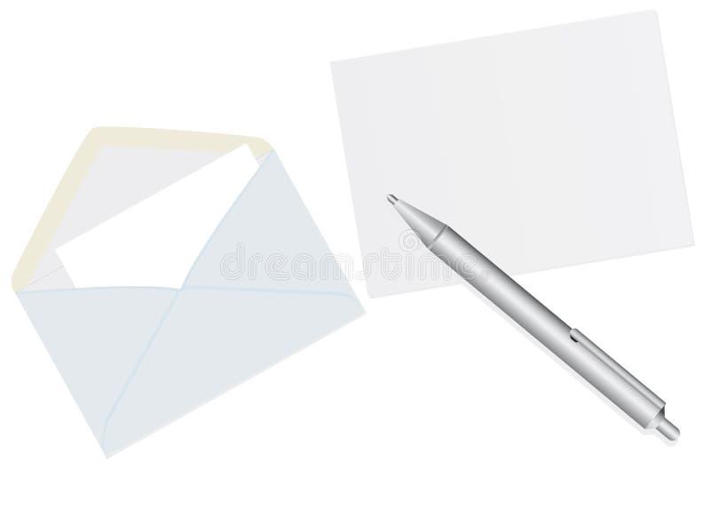 Envelopes e uma pena ilustração do vetor