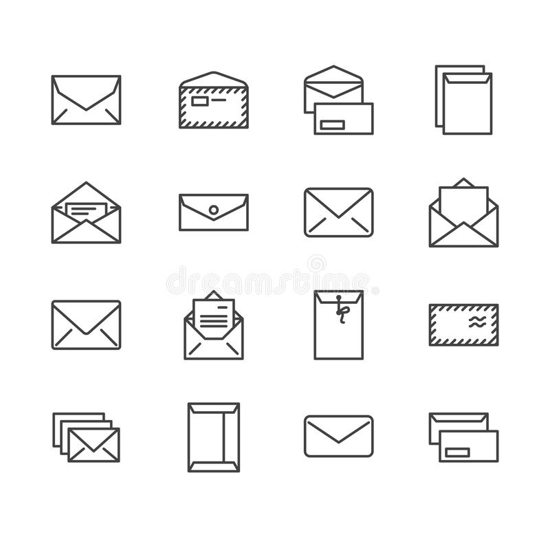 Envelopes flat line icons. Mail, message, open envelope with letter, email vector illustrations. Thin signs for web site stock illustration