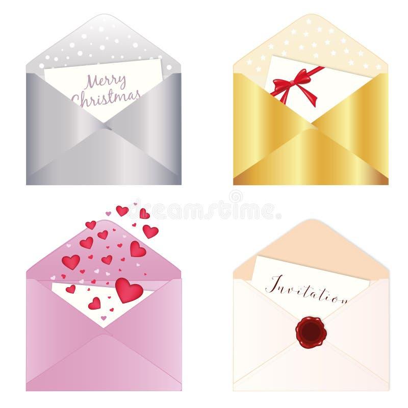 4 envelopes isolados ilustração stock