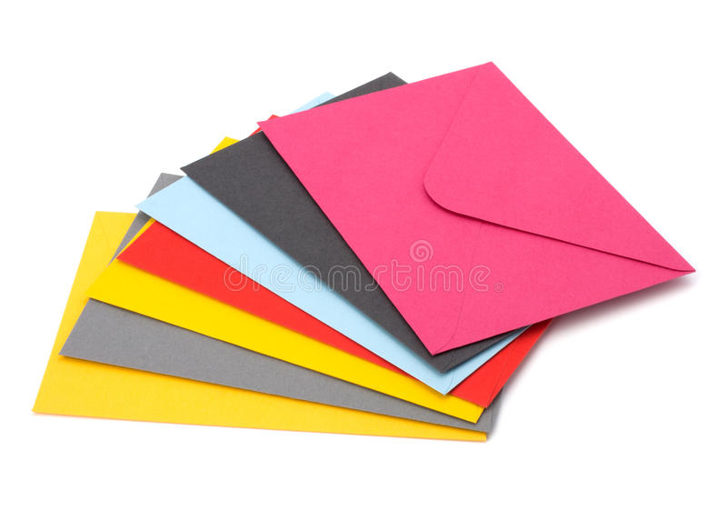Envelopes isolated on the white background royalty free stock photos