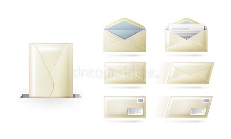 Envelopes, letras, correio ilustração do vetor