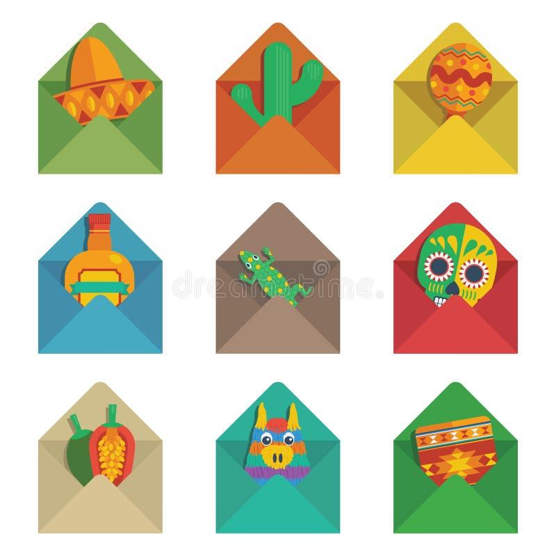 Envelopes mexicanos ilustração royalty free