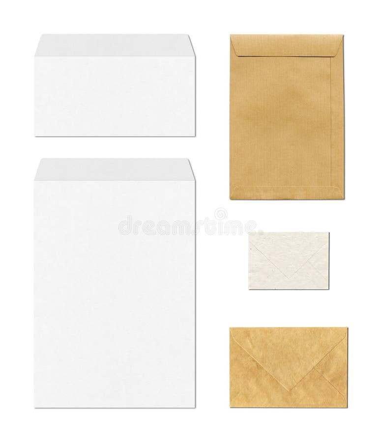 Envelopes mockup template, white background stock images