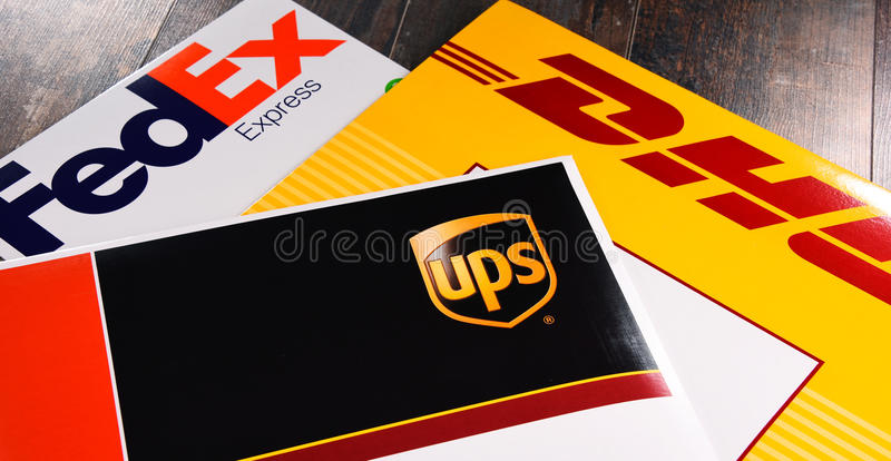 Envelopes of 3 most popular courier services in the world stock photography