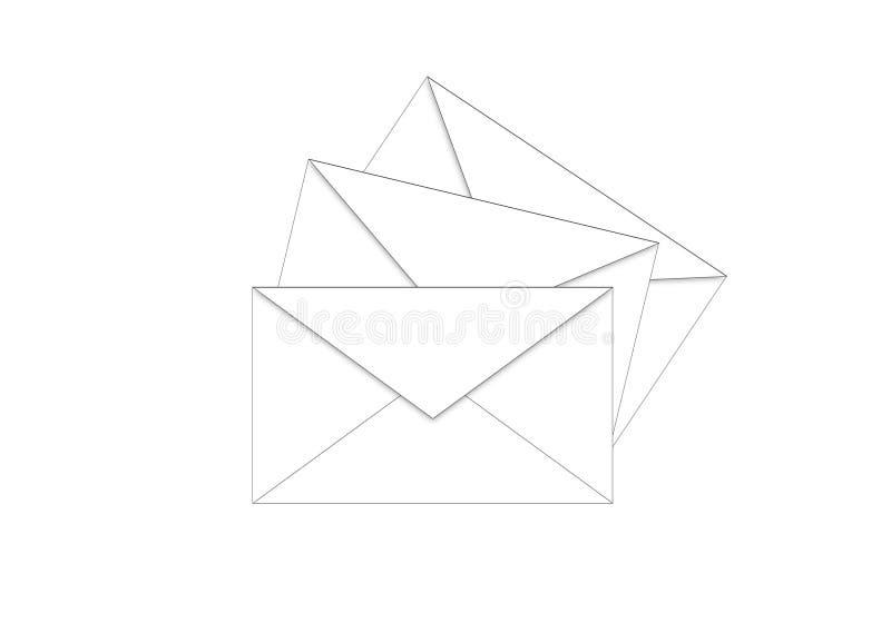 Envelopes na maneira ilustração royalty free