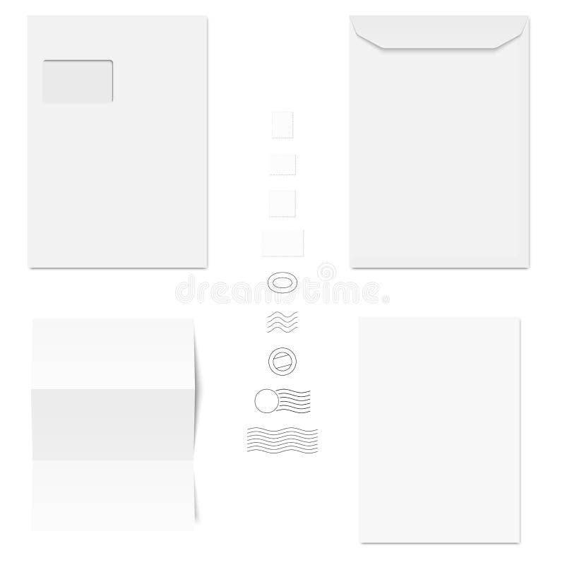 Envelopes/papel de escrita/selos postais brancos ilustração royalty free