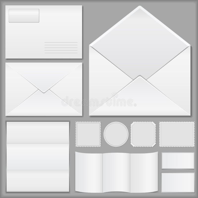 Envelopes, papel e selos de porte postal ilustração royalty free