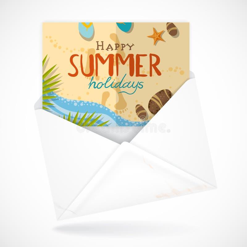 Envelopes postais com cartão ilustração royalty free